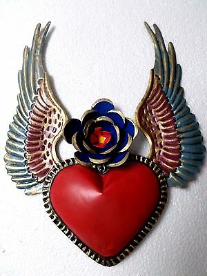 "10"" Mexican Folk Art Punched Tin Repousse Wall Ornament Flame Heart Wings"