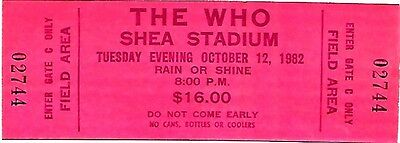 Concert Tickets-The Who: Madison Square Garden 9/18/79 and Shea Stadium 10/12/82