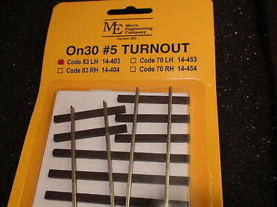 Micro- Engineering #14-403 On30 #5 CODE 83 LH TURNOUT BIGDISCOUNTTRAINS