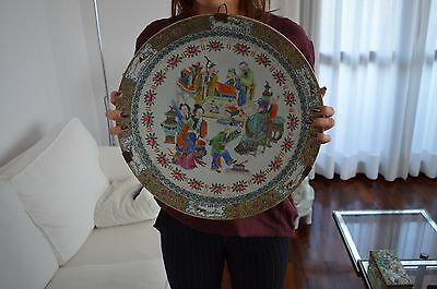 Large 40cm chinese porcelain plate famille rose / grande piatto cinese