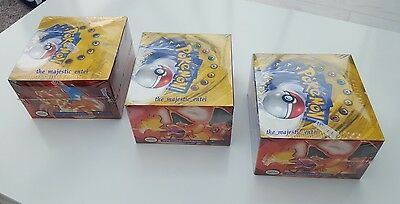 3 X Unique Base Set Booster Box - Pokemon - Blue & Green Winged, Factory Sealed
