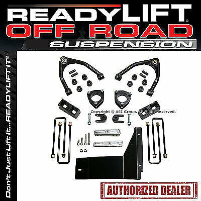 """Readylift SST Lift Kit GM Chevy 4"""" F 1.75"""" R Black With Moog Ball Joint 69-3485M"""