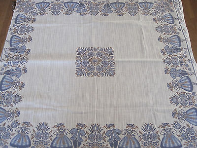 "AUSTRIAN TRADITIONAL TABLECLOTH COTTON LINEN 40"" x 42"" BLUE BEIGE w TAGS"