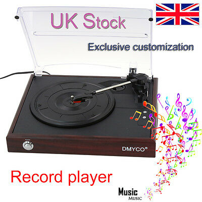 DMYco Retro Vinyl Record Player 3 Speed Built-In Speakers With Stereo System RCA