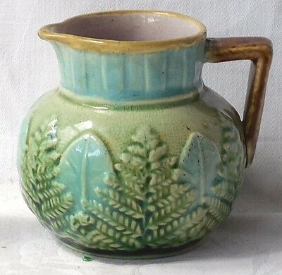 Late C19Th Majolica Jug With Relief Moulded Leaves