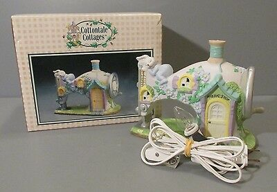 "1995 Cottontale Cottages ""Fabric Shop"" Light Up Sewing Machine Easter House"