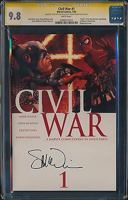 CGC 9.8 SS Civil War #1 Signed by McNiven - Wraparound Cover