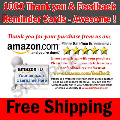 1000 Amazon Seller Professional Thank You Business Cards - 5 Star Rating FREE