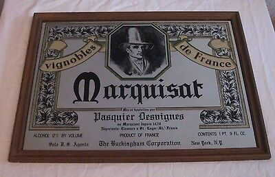 "Marquisat Product of France Wood Framed Mirror Bar Sign Advertising 24"" x  18"""