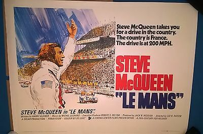 Steve Mcqueen- Le Mans   1971  Original Uk  Quad  Cinema Poster-Linen Backed