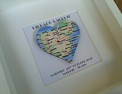 Heart Map Frame Wedding Engagement New Home  Location Personalised  Picture Gift