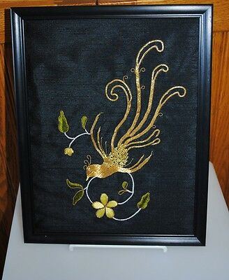 Vintage  Finished Bird of Paradise Metalic Threads on Black Silk Embroidery