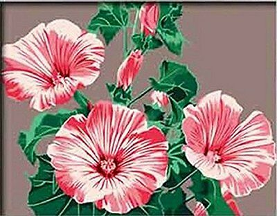DiY oil painting, paint by number kits- pink flower  16*20 inches.