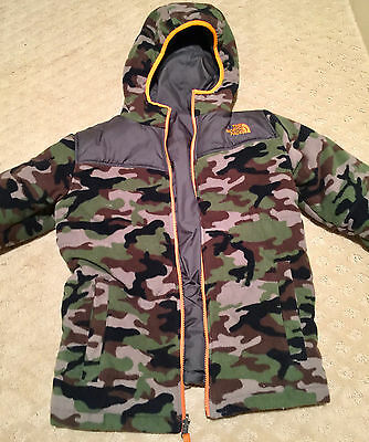 Boys The North Face Reversible Camo Coat With Hood Sz Medium 10/12 Fast Ship