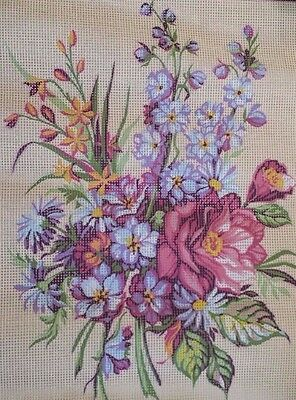 Seg de Paris Needlepoint Painted Canvas Delphiniums 40 X 50 cm