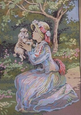 Seg de Paris Needlepoint Painted Canvas 30 x 40 cm Lovely Lady with Puppy