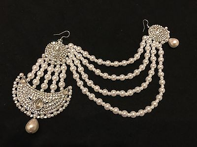 indian wedding head/hair jewellery/Accessories Silver Headpiece/mathapatty