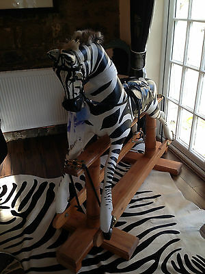 Large-Zebra-Rocking-Horse-On-Pine-Stand