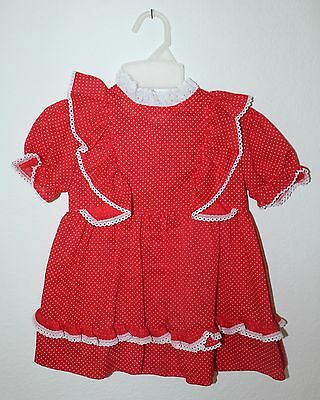 Vtg Lg Doll Red / White Polka Dot Dress Roget Playpal Toddler Lace Size 3T