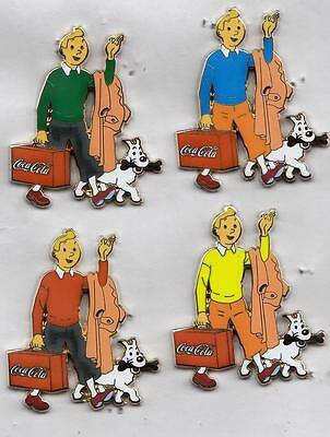 Attention Pin's Sup Serie De 4 Pins Tintin Et Milou, Coca Cola,manche Correcte