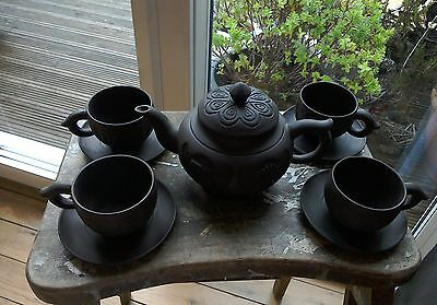 Vintage Oriental Chinese Brown Pottery Tea Set