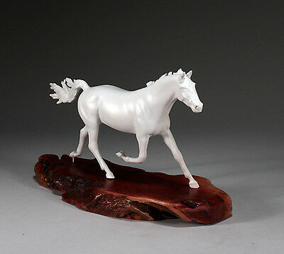 STALLION HORSE SCULPTURE NEW White by JOHN PERRY 11in long Equestrian Statue