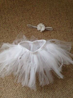 Baby Tutu . Photo Props . Baby Fancy Dress Tutu Plus Hair Flower 0-3 Months Baby