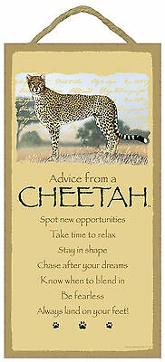 Advice from a Cheetah Inspirational Wood Wild Animal Sign Plaque Made in USA