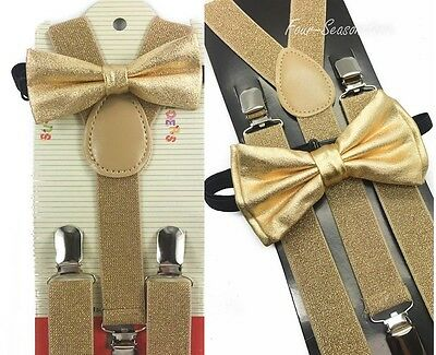 Soft Gold Suspender and Bow Tie Set for Adults Men Women Teens (USA Seller)