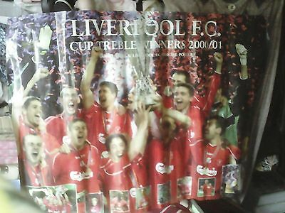 Nice Rare Official Liverpool Fc Team Poster,2000/1, Treble Cup Winners,vgc