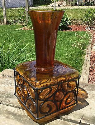 "Large Unique Vintage Mid Century Amber Glass with Metal Vase 14"" tall x 7"" base"