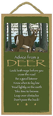 Advice from a Deer Inspirational Wood Wild Animal Sign Plaque Made in USA