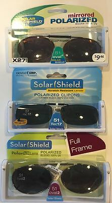 4ecaeceb8c8 3 SOLAR SHIELD Clip-on Polarized Sunglasses 51 Oval 2 Black lens ...