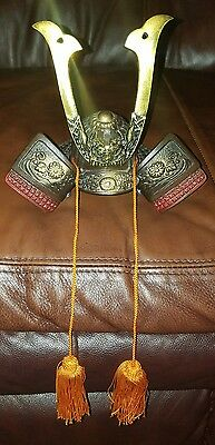 Vintage Ornate Mini Replica Japanese Boys Day Kabuto Samurai Warrior Helmet Nice