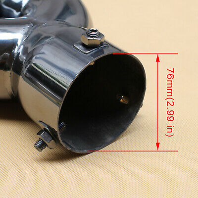 """76mm 3"""" Inlet Dual Outlet Universal Tail Exhaust Rear Muffler End Pipe Tip Cover"""