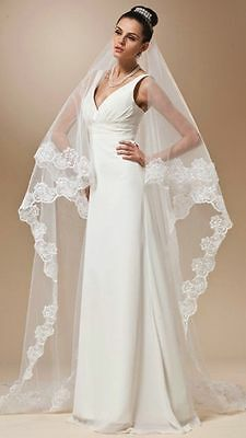 White or Ivory Cathedral Length Lace/Net  Embroidered Edge  Wedding Bridal Veil