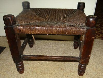 Vintage Wood and Jute Top Foot Stool