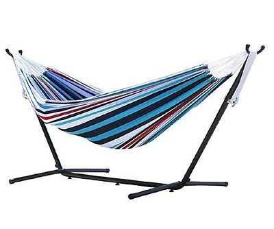 Hammock with Stand Blue Stripes Hanging Bed Portable and Durable Furniture
