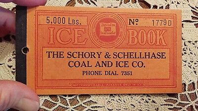 1930s ICE COUPON BOOK with COUPONS - SCHORY & SCHELLHASE - CANTON, OHIO - NICE!