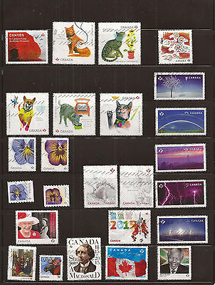 Canada 2015 collection of 25 nice used stamps