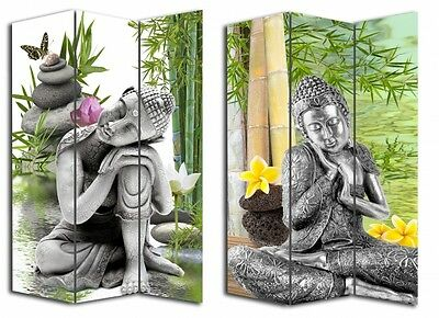New Folding 3 Panels Room Divider Screen Privacy Buddha Canvas Zen Home Decor