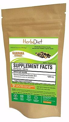 Guarana 20:1 Extract Powder 22% Energy Booster Weigh loss assistance Stimulant