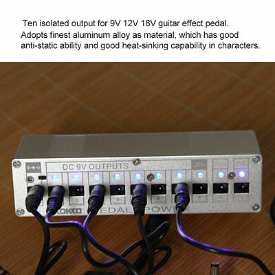 10 Isolated Output DC 9V 12V 18V Guitar Pedal Effect Power Supply AU Adapter YT