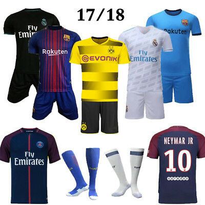 2017/18 Kids Kit Soccer Football Jersey Short Sleeve Suit 3-14 Years Youth+Socks