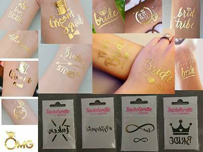 Hens Bucks Stag Temporary Tattoo Bride Groom Metallic Gold Party FUN Wedding