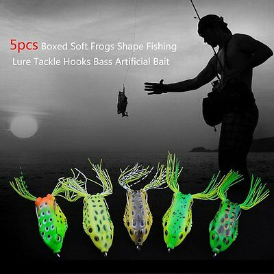 5pcs Boxed Soft Frogs Shape Fishing Lure Tackle Hooks Bass Artificial Bait GT