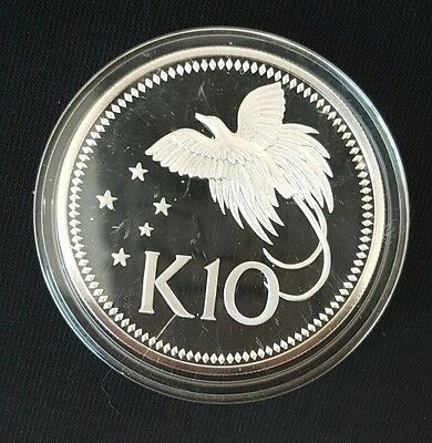 1975 Papua New Guinea 10 Kina Silver Proof Coin UNCIRCULATED....