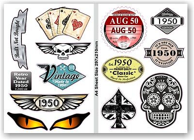 A4 Sheet Of Retro Year Dated 1950 Set of 12 Vinyl Car Bike Helmet sticker Decals