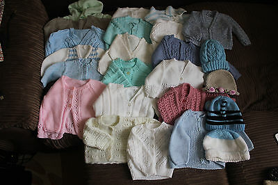 Joblot 20 Handknitted Baby Cardigans + 4 Hats Bundle Mixed Boys Girls VGC