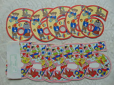 NOS NEW OLD STOCK 14 x UNUSED NUMBER 5 & 6 BIRTHDAY CARDS MIA CARD ENGLAND 1940s